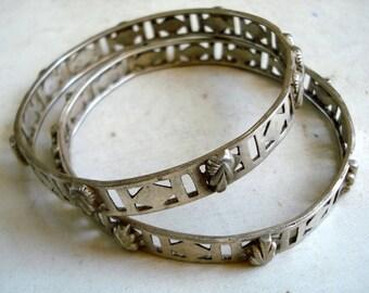 vintage antique tribal old silver bangles bracelet chudiyan set handmade