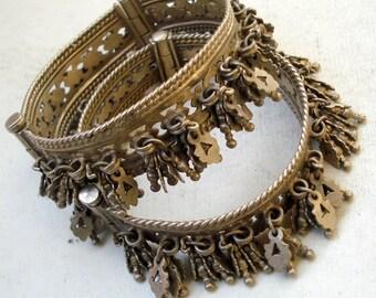 vintage Antique ethnic tribal old silver charm Bracelet bangle belly dance