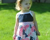 Tank dress for girls, baby, toddler, preschool floral, navy and pink