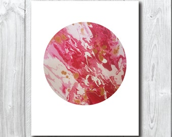Pink  Moon/Planet Art Print A5, 20x25cm,A3