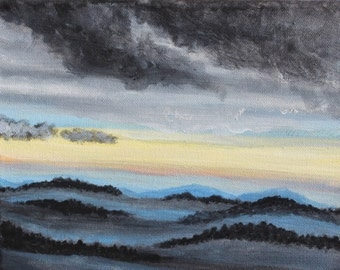 After The Storm #1: 8X10 Original acrylic painting, landscape, dark storm, misty mountain fog, clearing sky, horizon