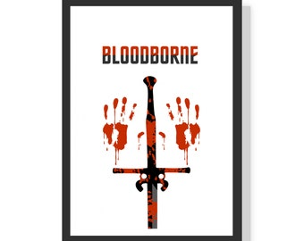 Bloody hands - Bloodborne (White) - Premium A2 LARGE Poster Print