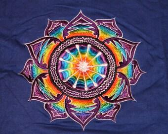 LARGE T SHIRT flower mandala psy hippy top