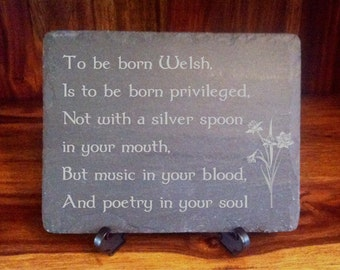 Slate Plaque To Be Born Welsh Poem