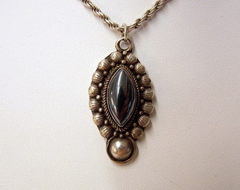 Antique Sterling Silver Onyx Pendant Necklace #69