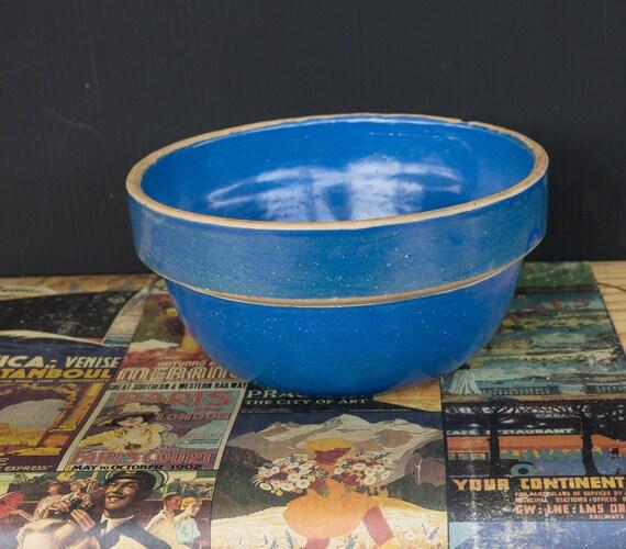 Old blue batter pottery bowl for Fish batter bowl