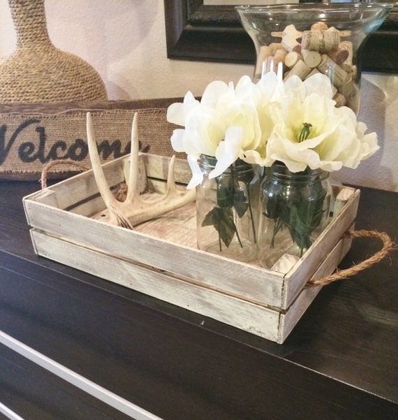 Items Similar To White Distressed Tray Stain Distressed Tray W Brackets Rustic Tray Decor