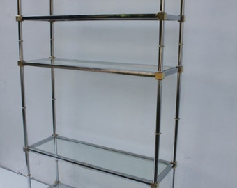 Chrome And Brass  Etagere  Attributed  To Maison Jansen  Mid-Century Modern.