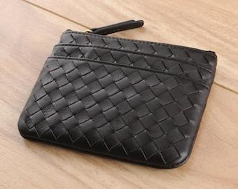 Pharo Woven Coin Pouch - Black Lambskin