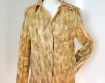Woman jacket of felted wool natural dye . Handmade. OOAK