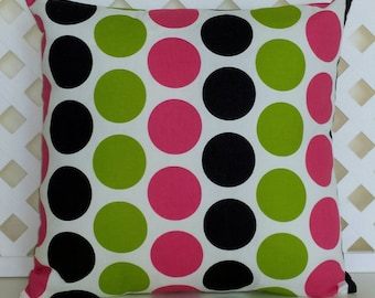 Candy Pink, Black, White, Chartreuse Pillow Cover - Premier Prints Fancy Dot Candy Pink with Zipper Closure