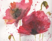 Red Poppy Art Print,  Wat...