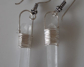 Earrings clear crystal quartz  points wrapped in fine silver