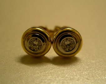 18K Gold & Diamond Stud Earrings