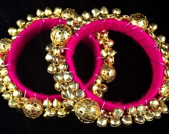 Pink Ghungroo Bangles, Bells, Dance and Bellydancer accessories
