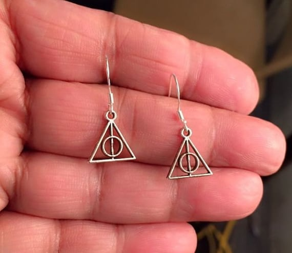 "INSPIRED from ""Harry Potter"" DEATHLY HALLOWS (1/2"" Triangle Size) Silver Earrings."
