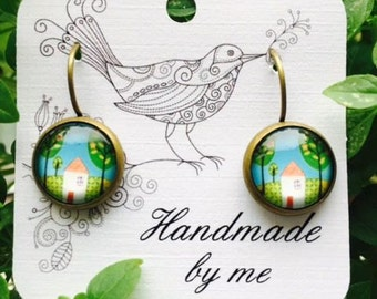 Handmade hypoallergenic brass and glass cabochon earrings