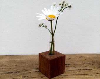 Solid Oak base Handmade Test tube vase