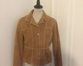 LAdies Vintage Wilson's Leather Maxima Beige Suded jacket size large