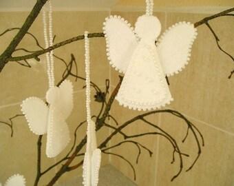 Felt ornaments christmas angels Set of 4  -  white angels - felt ornament decor - christmas holidays ornament-shabby chic decor