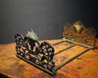 Vintage Brass Victorian Bookends