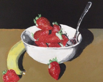 Strawberry painting, original painting, acrylic painting, still life painting, 12x12 canvas