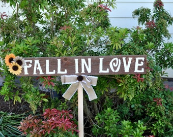 rustic fall wedding signs, fall wedding sign, rustic wedding fall in love sign, country wedding, rustic wedding decor, barn wedding sign