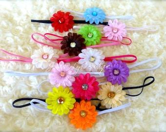 "Newborn Baby Girls 2"" Gerber Daisy Flower Skinny Headband You pick the colors"