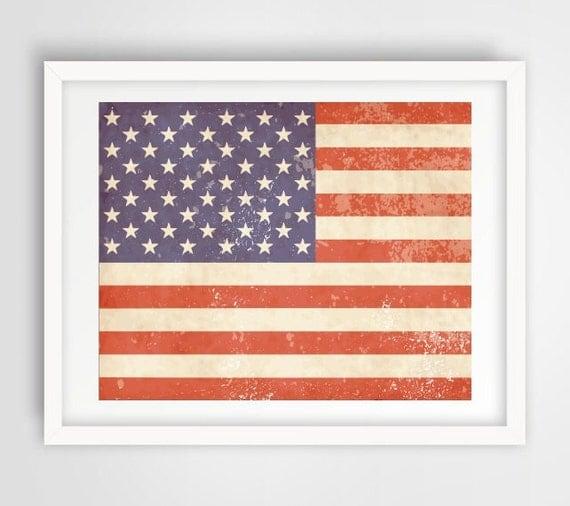 Printable Art Vintage US Flag Modern Wall Art by ...
