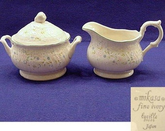 Mikasa China CREAMER & SUGAR Set with Lid Lucille Pattern #D1009 c. 1980-82 Unused