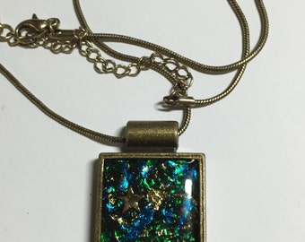 Faux Dichroic Pendant - Antique Gold