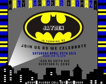 Batman Themed Birthday Party Invitation Printed or Digital