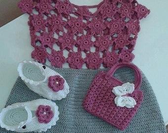 crochet baby set - dress, booties and  bag