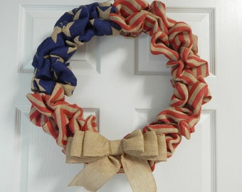 "American Flag Burlap Wreath 20"", Patriotic"