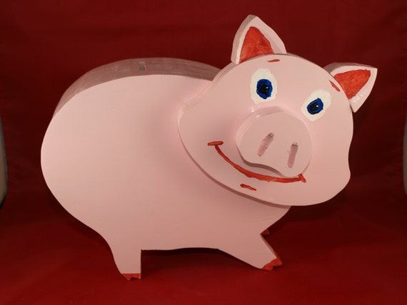 Handmade piggy bank by lampleyswoodshop on etsy for Handmade coin bank