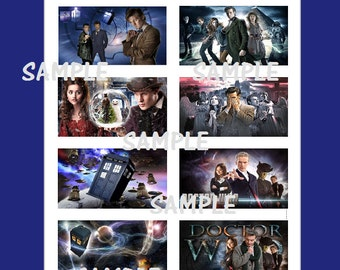 8 Printed Dr. Who Inspired Stickers, Birthday Party Favors, Doctor who stickers, Custom Made