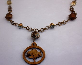 Double-Jump Ring Gunmetal Necklace with Laser-cut Wood Tree Charm and a variety of beads