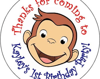 12 Curious George Boy or Girl Birthday Party Stickers 2.5 inch Round Personalized kids