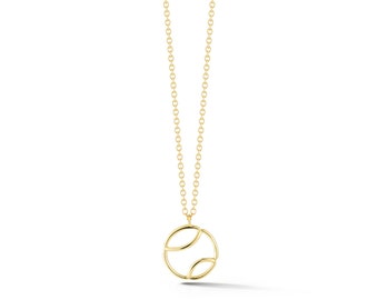 "AF Jewelers ""Tennis Anyone?"" Small Pendant Necklace with Chain, 18k Yellow Gold."