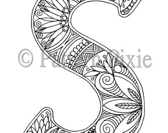 adult colouring page alphabet letter s - S Coloring Page