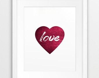 Heart Love -Typography Printable,  Love Word Art, Red Bordo Heart - Modern Wall Art, Home Office Decor, Digital Print, Instant Download Art