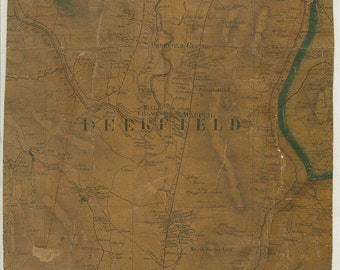 Deerfield Massachusetts 1858 Map Original - Homeowner Names - Cloth Backing -6