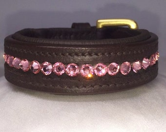 "Leather Padded Dog Collar  ""Tickled Pink"""""