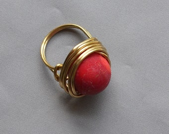 Coral Ring size 7.5