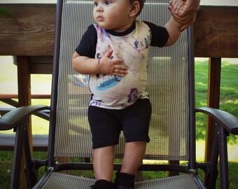 Vintage baby boy outfit, shirt and pant set, newborn vintage set, artsy shirt , guitar model, cursive writing, newborn vintage shirt