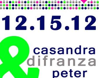 Custom Modern Ampersand Wedding Save The Date Vertical Dots- Sample