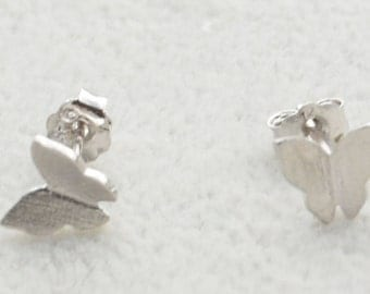 Pair of Dainty Butterfly Stud Earrings in Sterling Silver Simplistic Design Nature Inspired