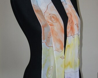 Hand painted chiffon scarf
