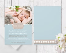 Blue & Brown Baby Boy Photo Birth Announcement | Printed on Luxe Cardstock | Baby Thank You Cards