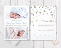Blue & Brown Baby Boy Photo Birth Announcement | Printed on Luxe 350gsm Cardstock | Baby Thank You Cards | Spots | 2 Photos | Twins